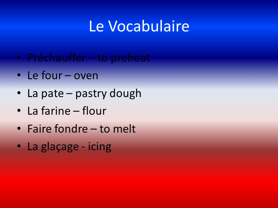 Le Vocabulaire Préchauffer – to preheat Le four – oven