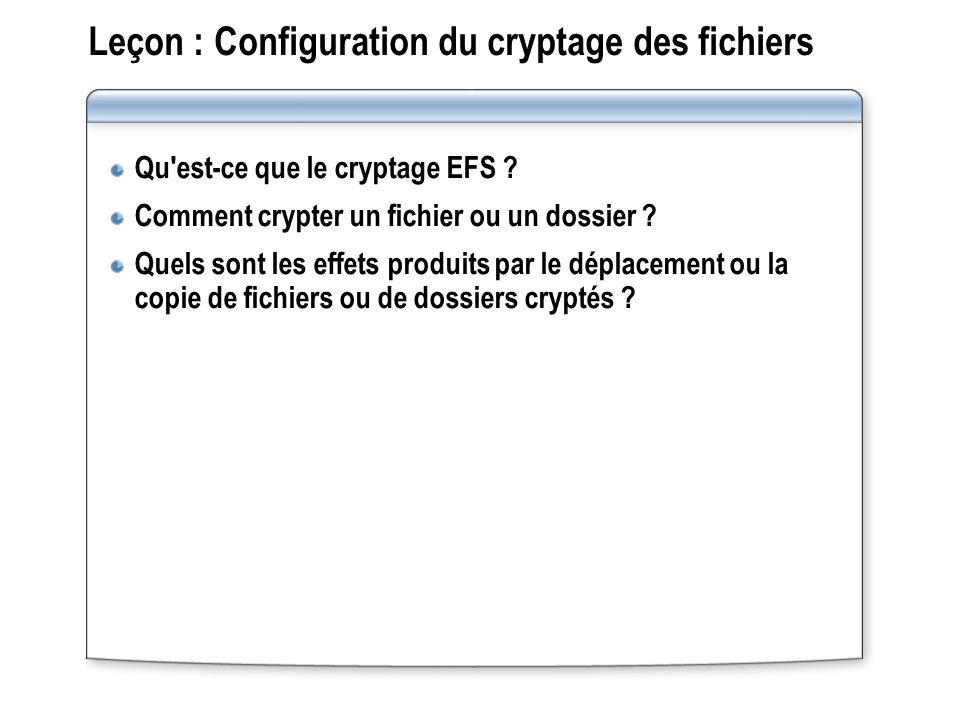 Leçon : Configuration du cryptage des fichiers