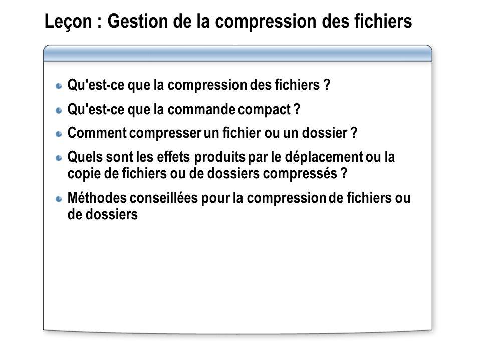 Leçon : Gestion de la compression des fichiers