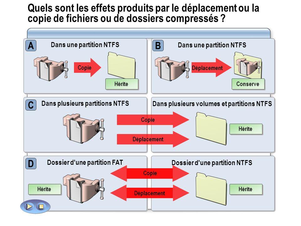 Quels sont les effets produits par le déplacement ou la copie de fichiers ou de dossiers compressés