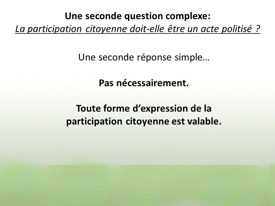 Une seconde question complexe: La participation citoyenne doit-elle être un acte politisé