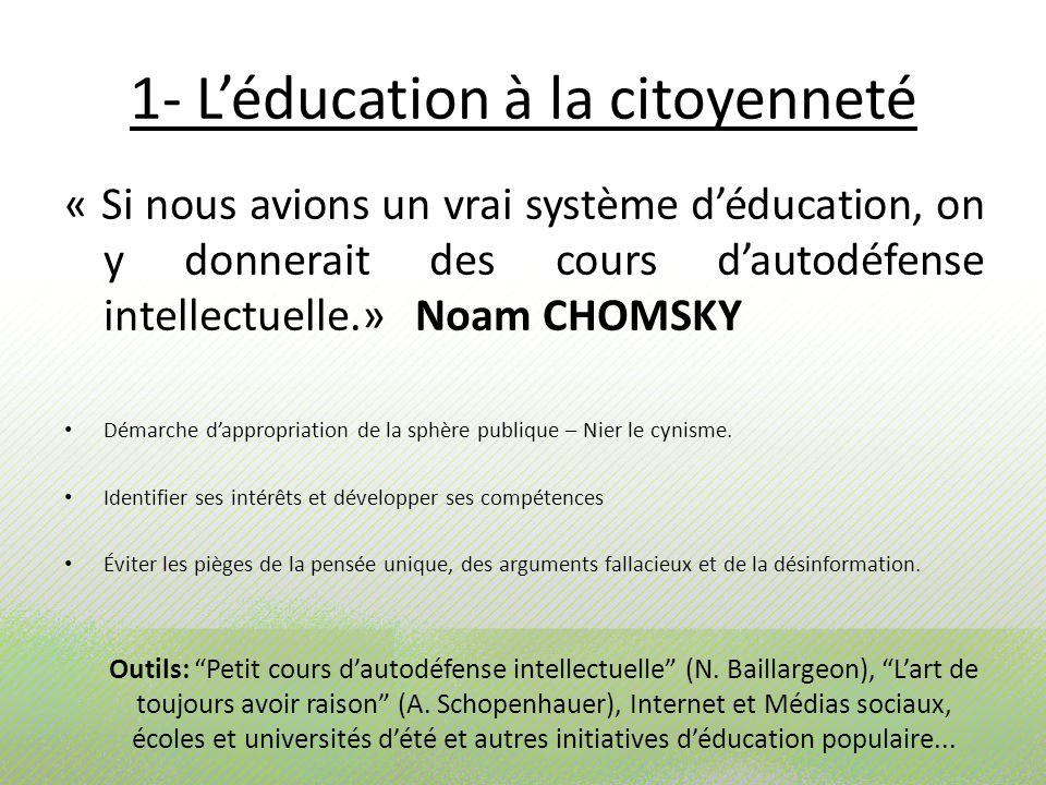 1- L'éducation à la citoyenneté