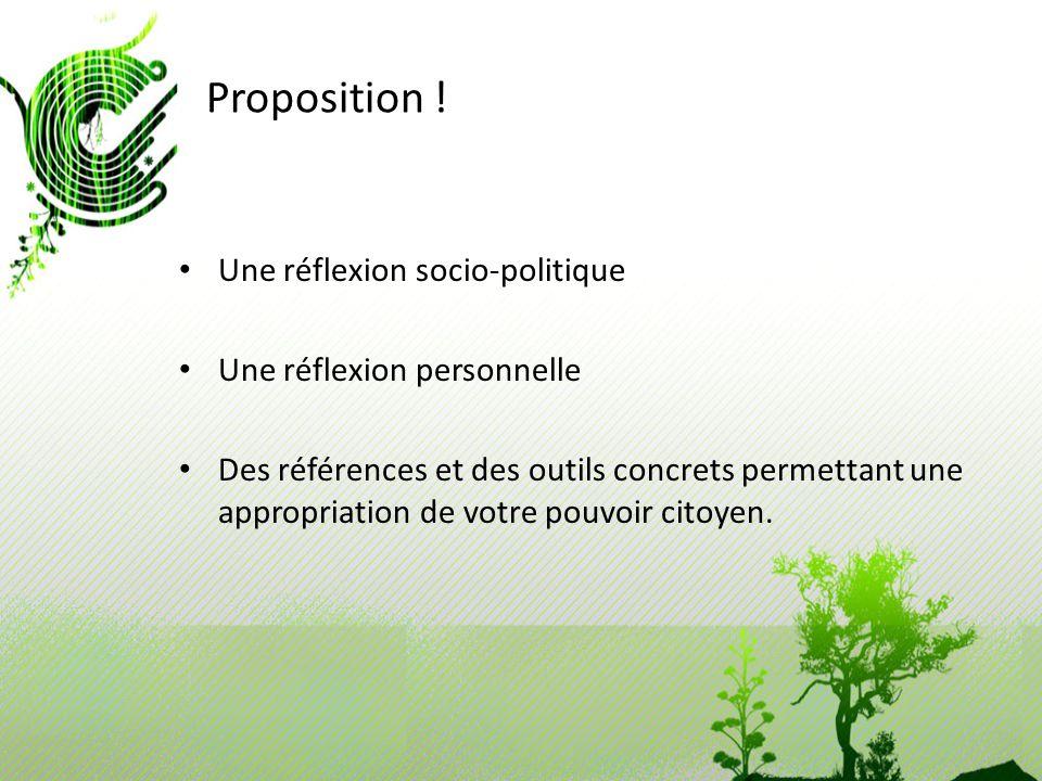 Proposition ! Une réflexion socio-politique Une réflexion personnelle