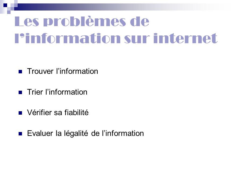 Les problèmes de l'information sur internet