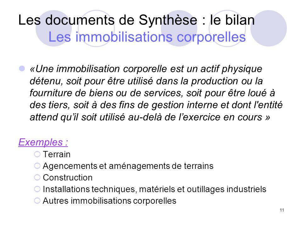 Les documents de Synthèse : le bilan Les immobilisations corporelles