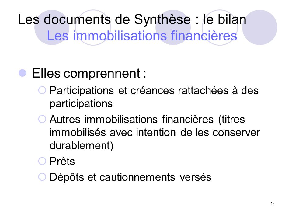 Les documents de Synthèse : le bilan Les immobilisations financières