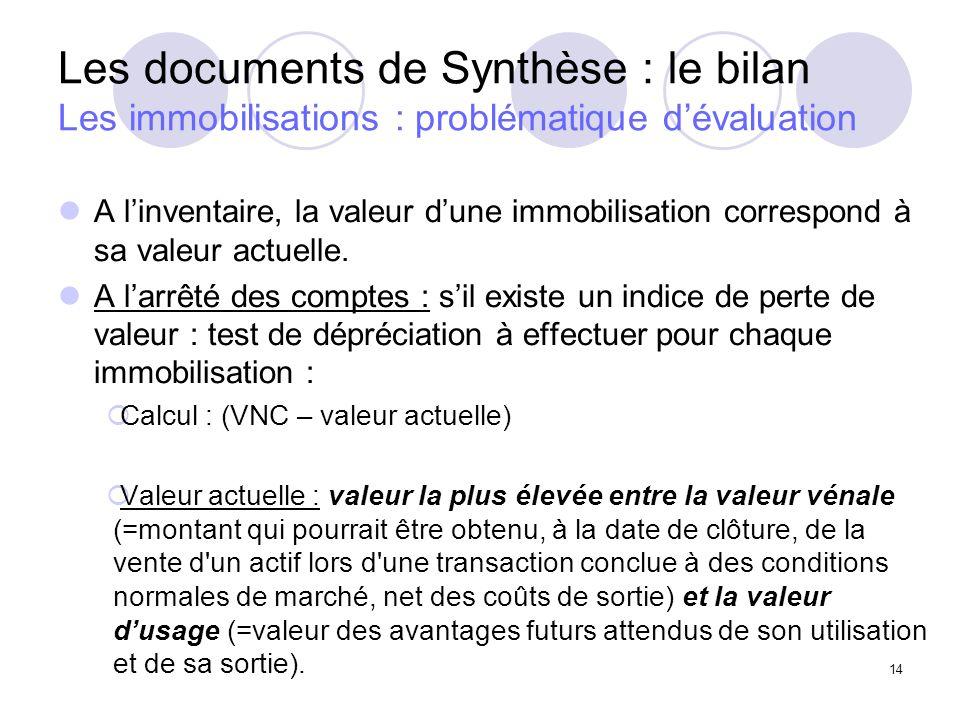 Les documents de Synthèse : le bilan Les immobilisations : problématique d'évaluation