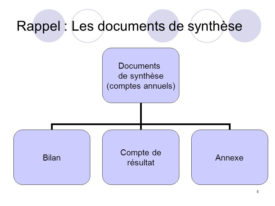 Rappel : Les documents de synthèse