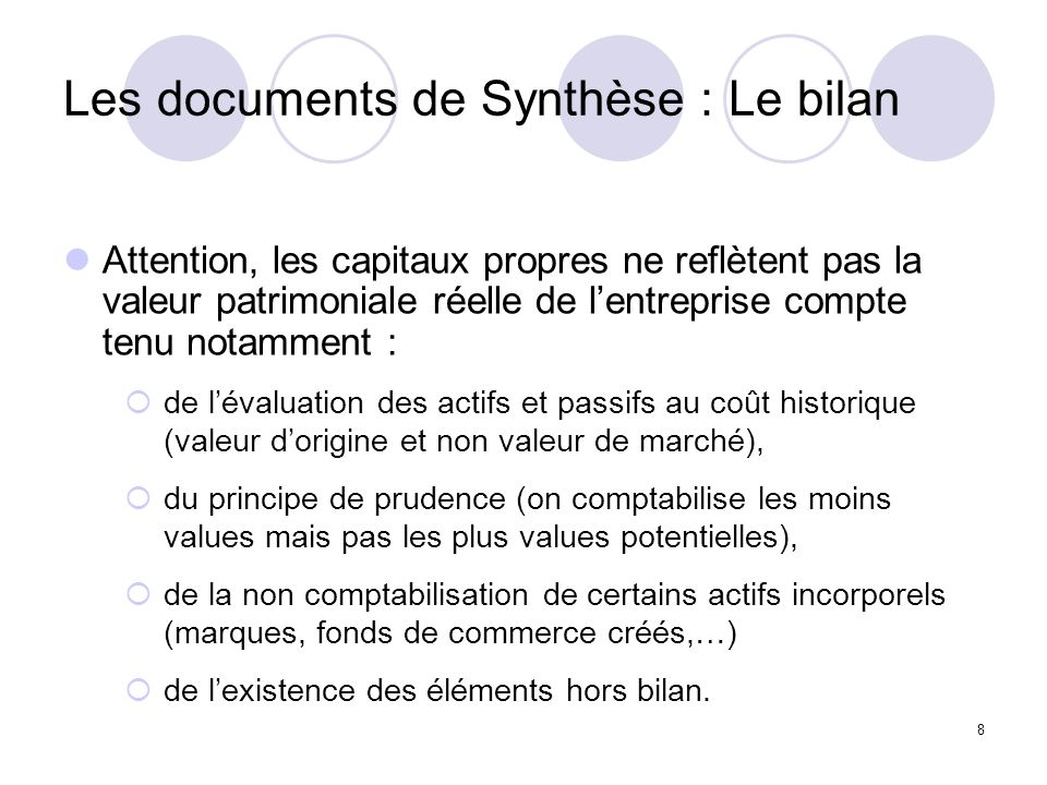 Les documents de Synthèse : Le bilan