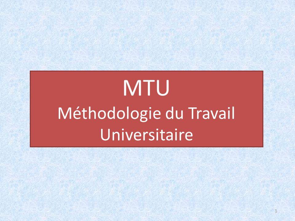 Méthodologie du Travail Universitaire