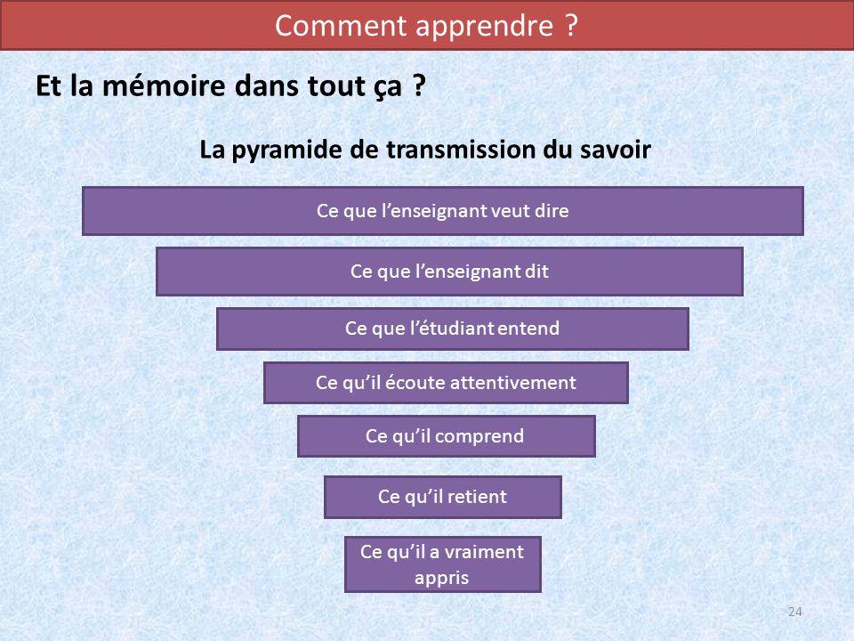 La pyramide de transmission du savoir