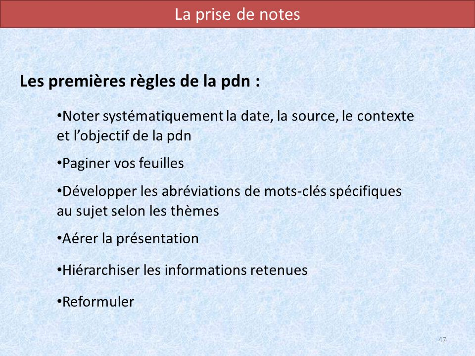 Les premières règles de la pdn :