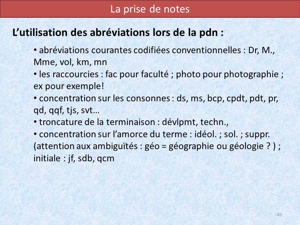 L'utilisation des abréviations lors de la pdn :