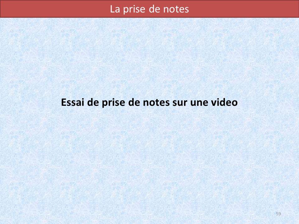 Essai de prise de notes sur une video