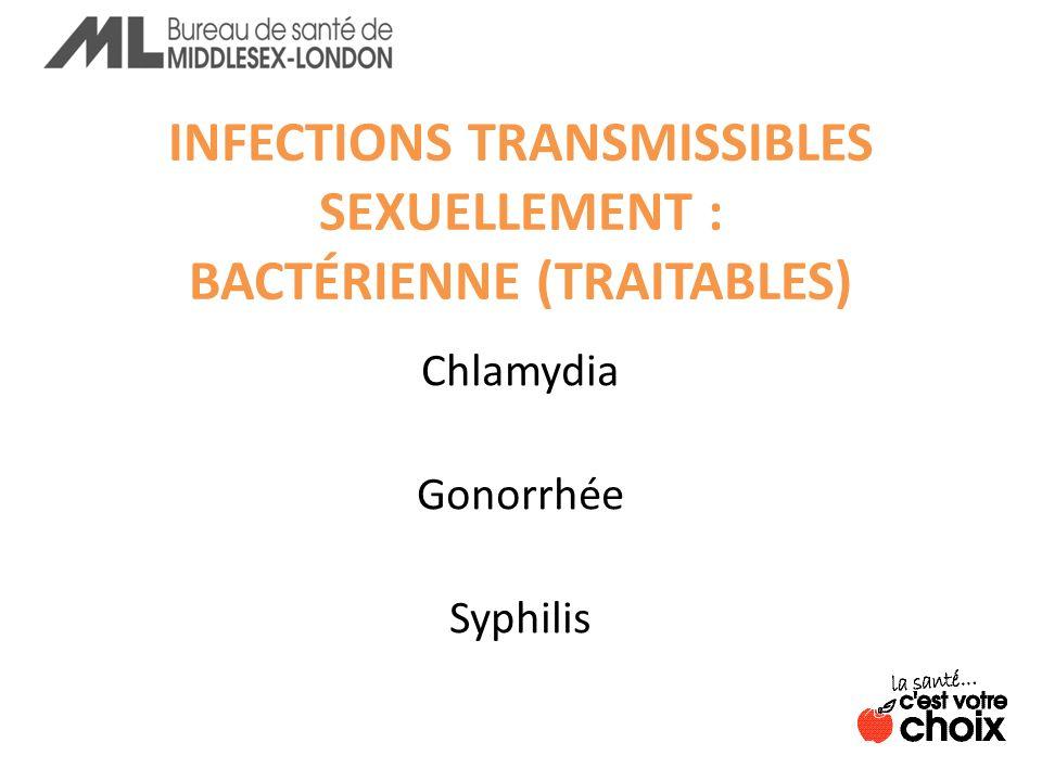 INFECTIONS TRANSMISSIBLES SEXUELLEMENT : BACTÉRIENNE (TRAITABLES)