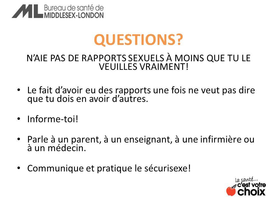 N'AIE PAS DE RAPPORTS SEXUELS À MOINS QUE TU LE VEUILLES VRAIMENT!