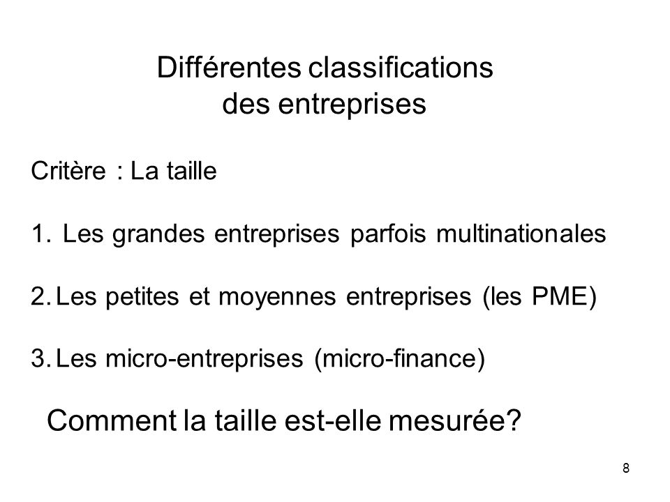Différentes classifications