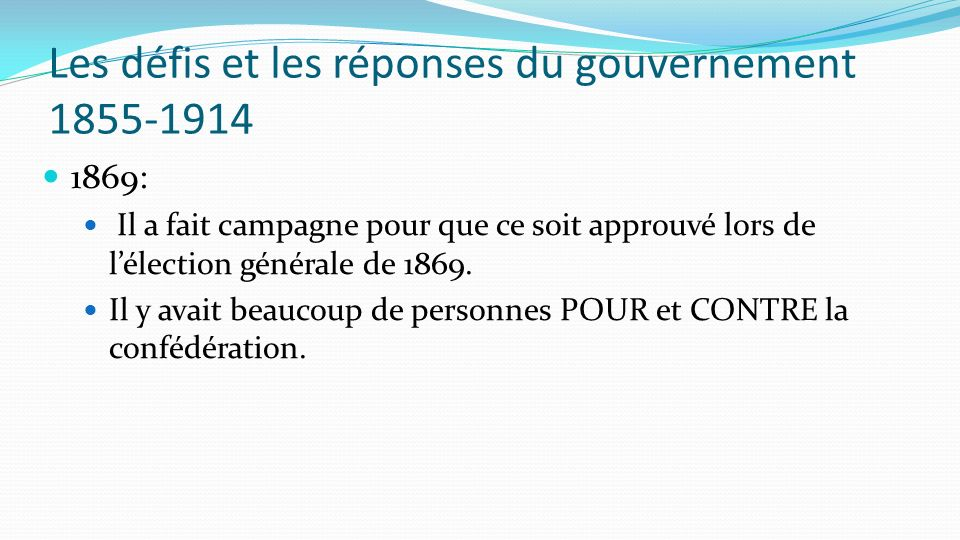 Les défis et les réponses du gouvernement 1855-1914