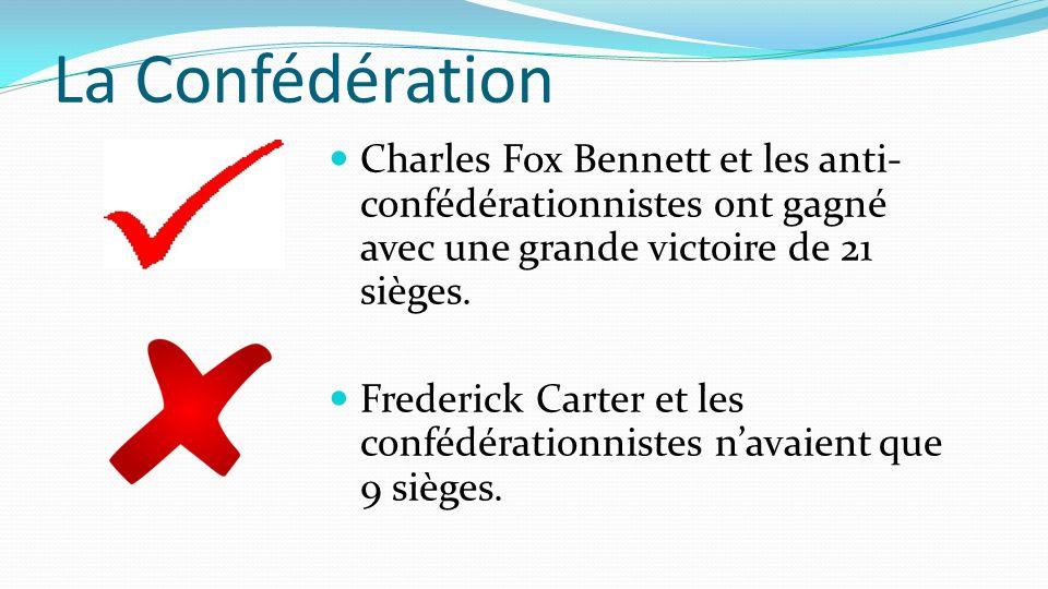 La Confédération Charles Fox Bennett et les anti-confédérationnistes ont gagné avec une grande victoire de 21 sièges.