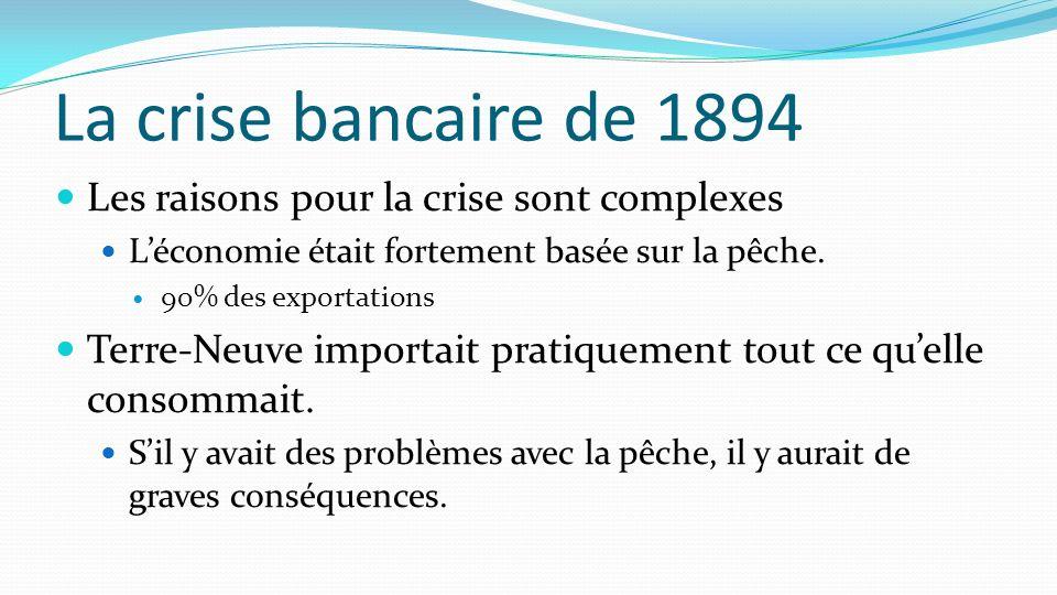 La crise bancaire de 1894 Les raisons pour la crise sont complexes