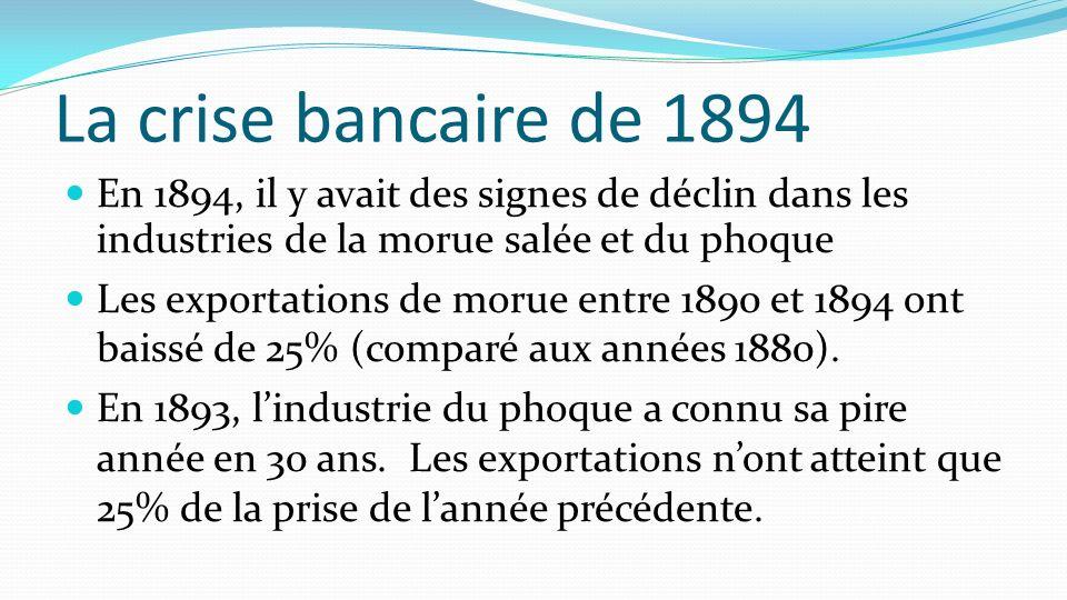 La crise bancaire de 1894 En 1894, il y avait des signes de déclin dans les industries de la morue salée et du phoque.