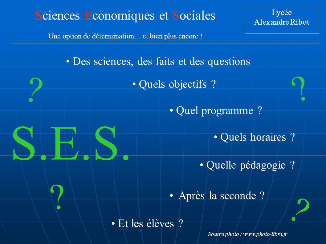 S.E.S. Sciences Economiques et Sociales