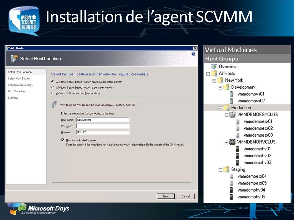 Installation de l'agent SCVMM