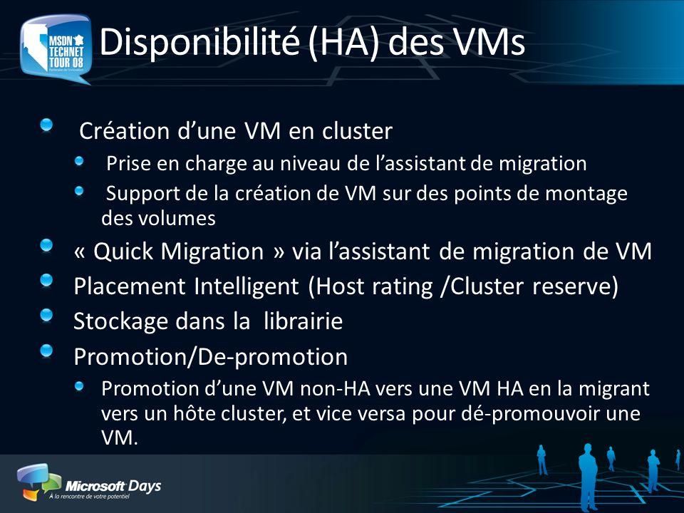 Disponibilité (HA) des VMs