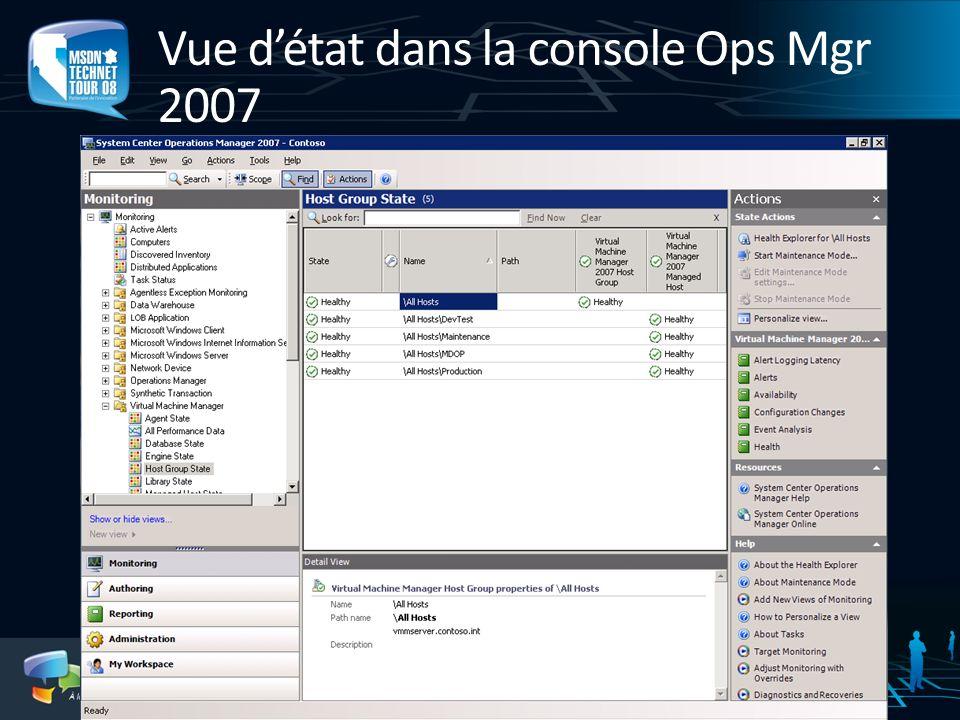 Vue d'état dans la console Ops Mgr 2007
