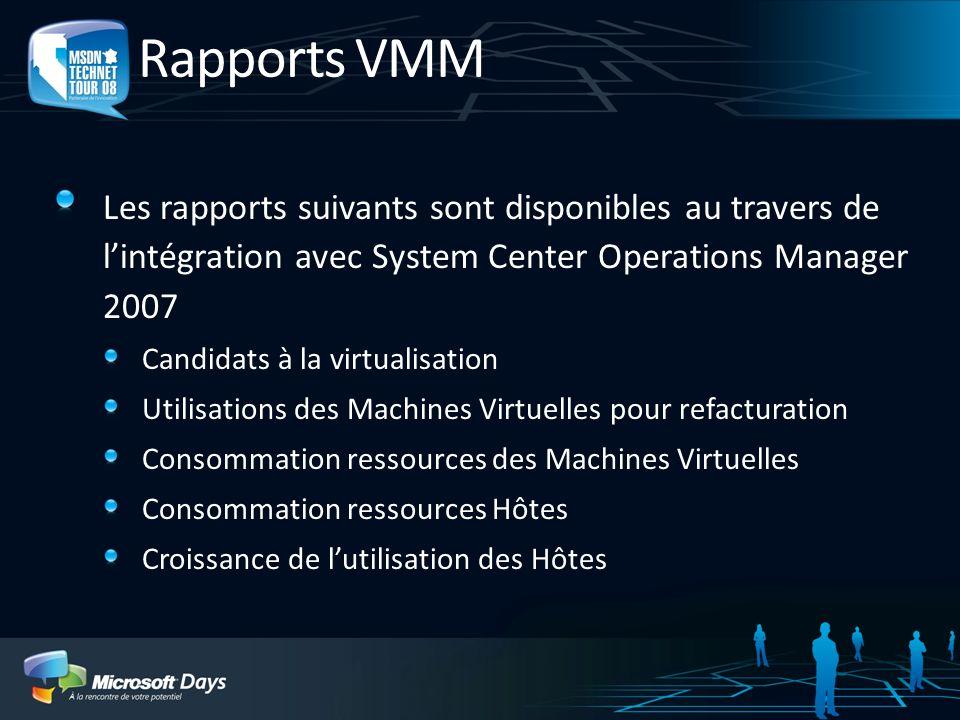 Rapports VMM Les rapports suivants sont disponibles au travers de l'intégration avec System Center Operations Manager 2007.