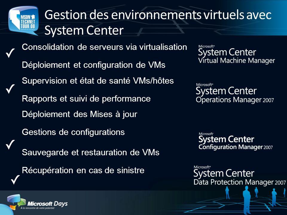 Gestion des environnements virtuels avec System Center