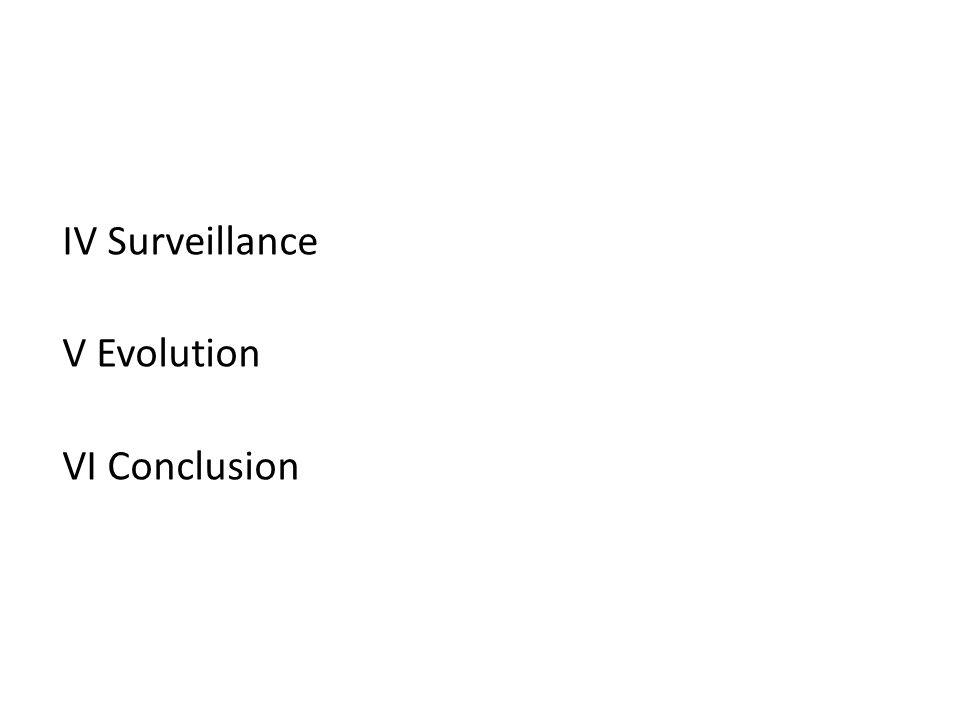 IV Surveillance V Evolution VI Conclusion