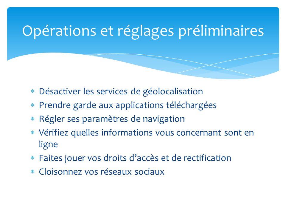 Opérations et réglages préliminaires