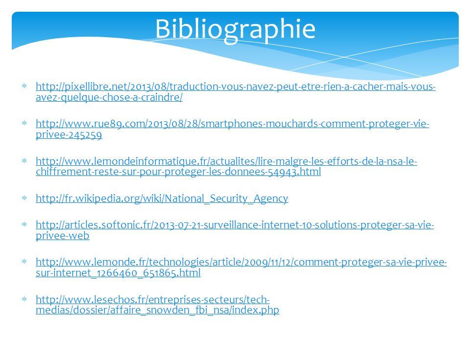 Bibliographie http://pixellibre.net/2013/08/traduction-vous-navez-peut-etre-rien-a-cacher-mais-vous-avez-quelque-chose-a-craindre/
