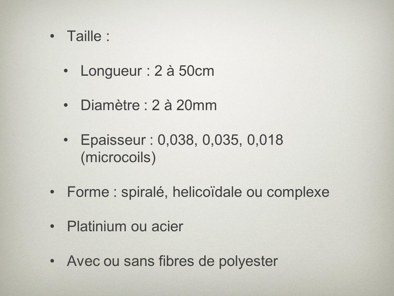 Taille : Longueur : 2 à 50cm. Diamètre : 2 à 20mm. Epaisseur : 0,038, 0,035, 0,018 (microcoils) Forme : spiralé, helicoïdale ou complexe.