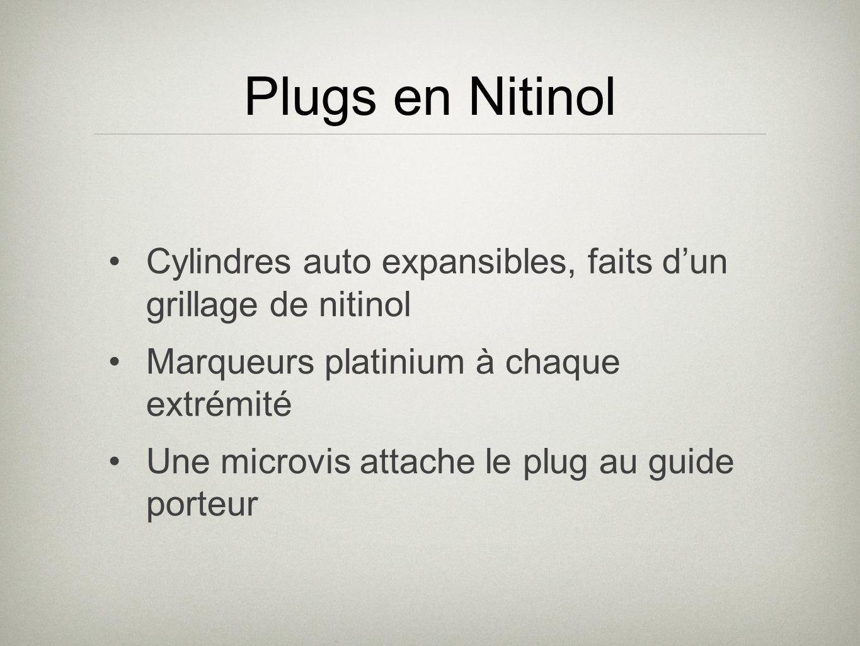 Plugs en Nitinol Cylindres auto expansibles, faits d'un grillage de nitinol. Marqueurs platinium à chaque extrémité.
