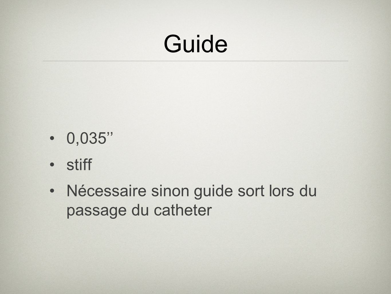 Guide 0,035'' stiff Nécessaire sinon guide sort lors du passage du catheter