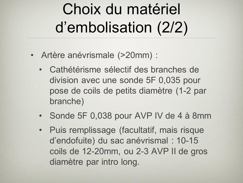 Choix du matériel d'embolisation (2/2)