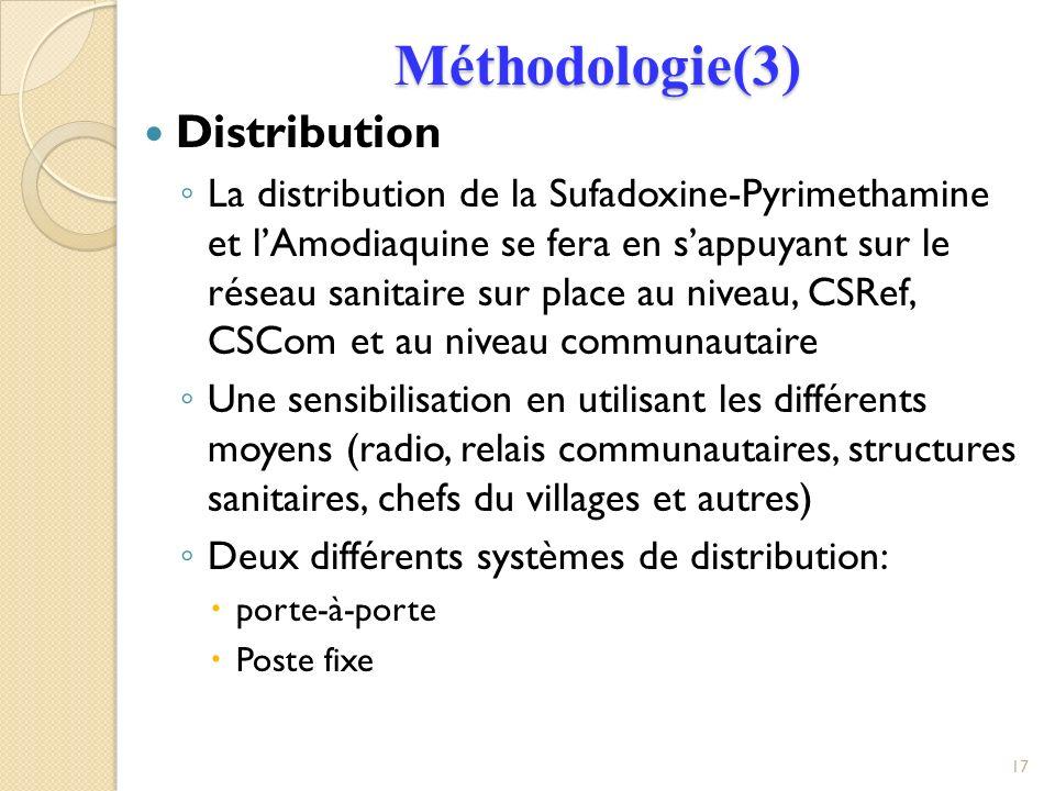 Méthodologie(3) Distribution
