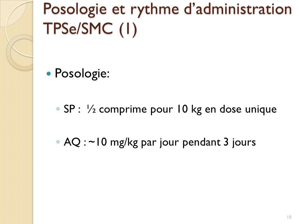 Posologie et rythme d'administration TPSe/SMC (1)