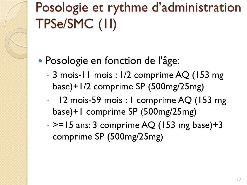 Posologie et rythme d'administration TPSe/SMC (1I)