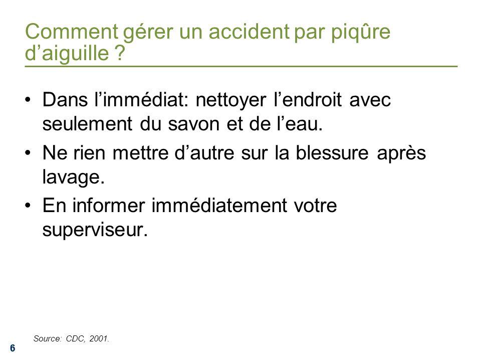 Comment gérer un accident par piqûre d'aiguille