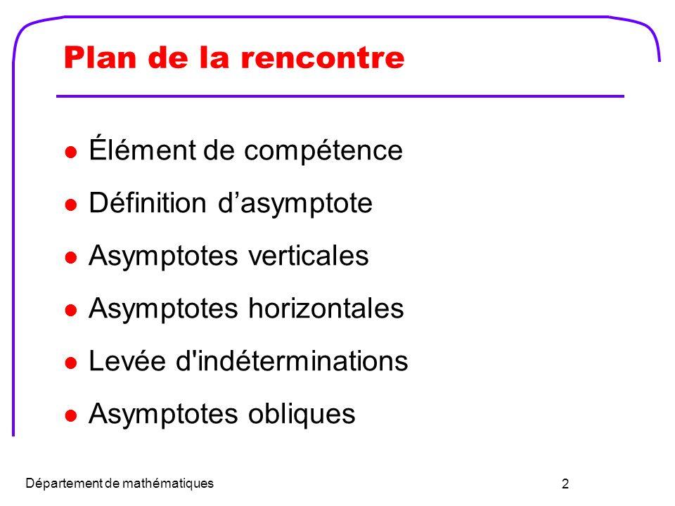 Plan de la rencontre Élément de compétence Définition d'asymptote