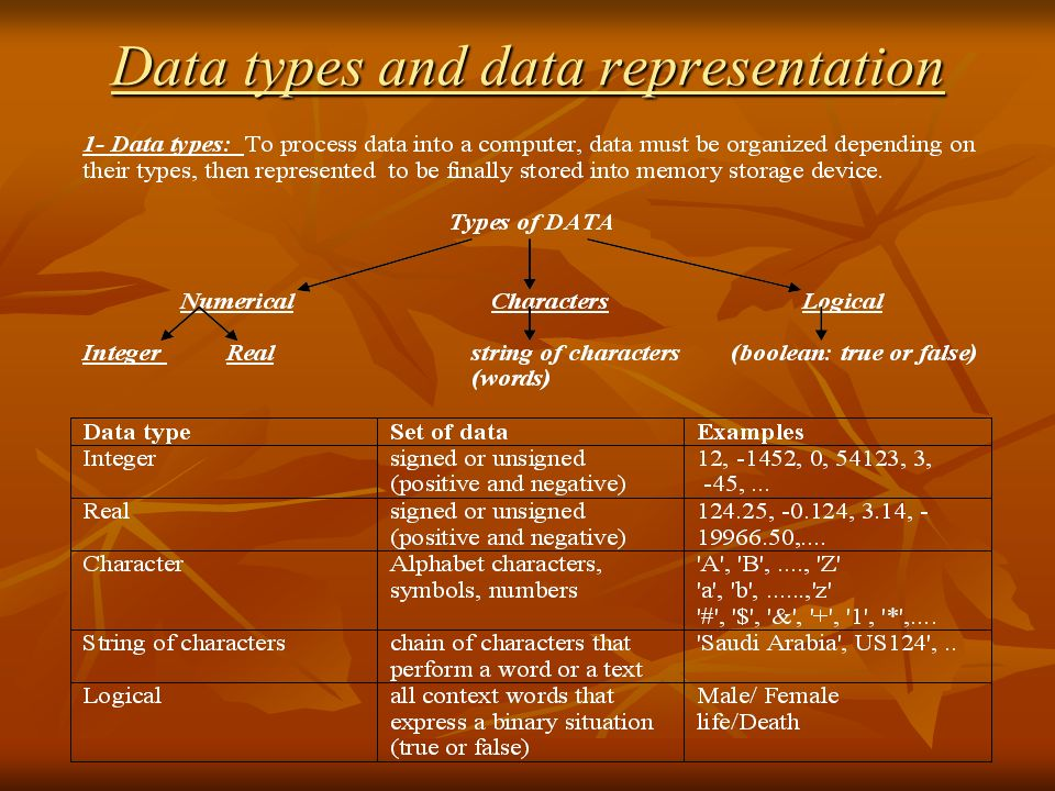 Data types and data representation