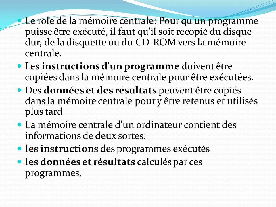 Le role de la mémoire centrale: Pour qu un programme puisse être exécuté, il faut qu il soit recopié du disque dur, de la disquette ou du CD-ROM vers la mémoire centrale.