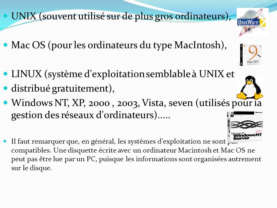UNIX (souvent utilisé sur de plus gros ordinateurs),