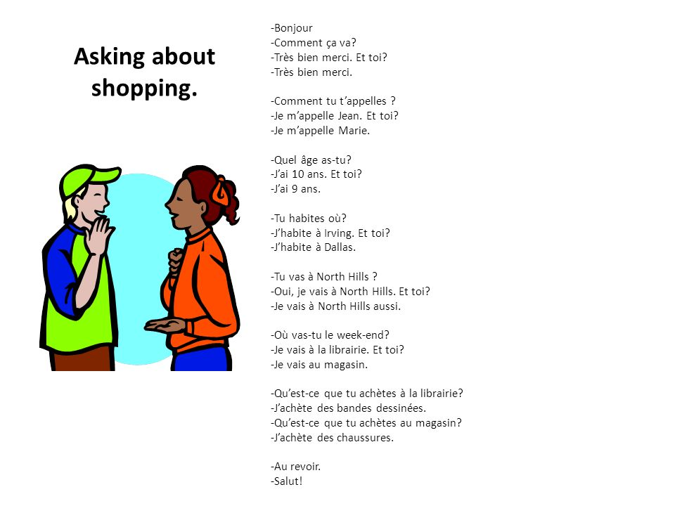 Asking about shopping. -Bonjour -Comment ça va