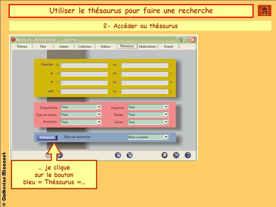 2- Accéder au thésaurus … je clique sur le bouton bleu « Thésaurus »…