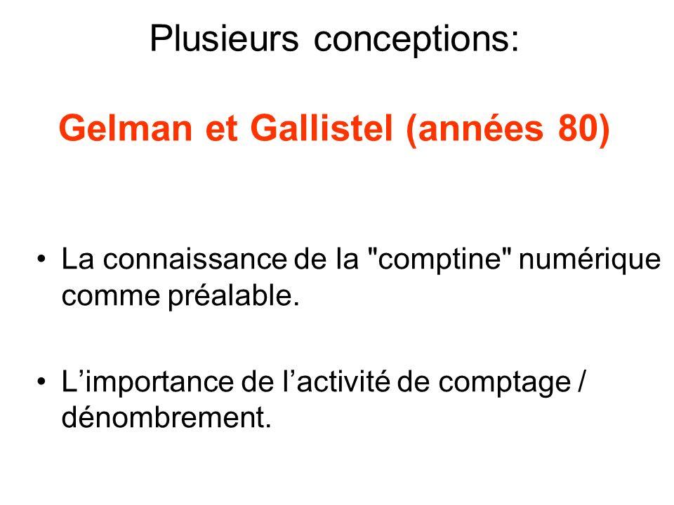 Plusieurs conceptions: Gelman et Gallistel (années 80)