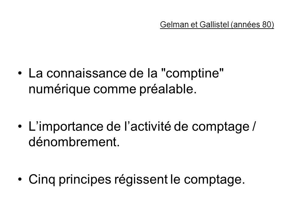 Gelman et Gallistel (années 80)